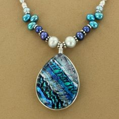 Sterling Silver Ice Blue Dichroic Glass Pearl Necklace $189.00 #jewelry