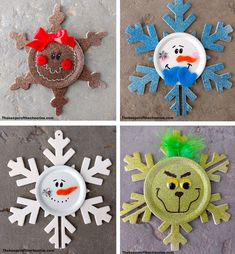 Snowflake Christmas Ornaments – The Keeper of the Cheerios - Stürmisch Wetter Lustig Wood Snowflake, Snowflake Craft, Snowflake Ornaments, Snowflakes, Ornaments Ideas, Ornament Crafts, Snowman Ornaments, Diy Snowman, Snowmen