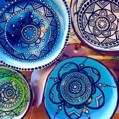 Handpainted COCONUT SHELL trinket dish boho-inspired mandala