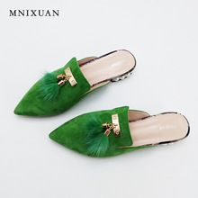 US $48.00 Women flat mules shoes pointed toe slides sandals big size 2017 summer genuine leather with fur pearls slip on shoes size 34-43. Aliexpress product
