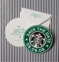 Save the Date Starbucks cards for those coffee lovers. Wedding, groom, bride, save the date. Starbucks Wedding, Starbucks Birthday Party, My Starbucks, 13 Birthday, Starbucks Christmas, Birthday Ideas, Birthday Parties, Coffee Theme, Coffee Drinks