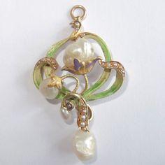 Antique ART NOUVEAU BIPPART & CO 14k Gold Enamel Pearl Flower Pendant #BippartCo #Pendant