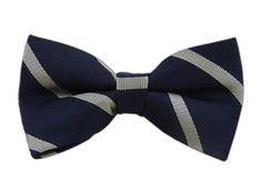 Trad Stripe - Navy/Silver (Bow Ties) | Ties, Bow Ties, and Pocket Squares | The Tie Bar