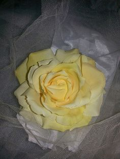 Hey, I found this really awesome Etsy listing at https://www.etsy.com/listing/190199272/yellow-rose-hairclip-4