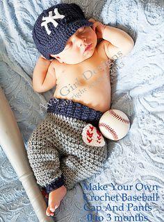 Ravelry: Newborn baseball cap and pants set pattern by Ava Girl Designs