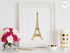 Eiffel Tower, gold Eiffel Tower, Eiffel tower home decor, Paris, Paris home decor