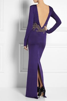BALMAIN Embellished jersey gown