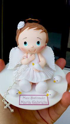 Topo de bolo Batizado com anjinha de vestido branco