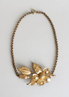 Vintage 1940s brass flower necklace