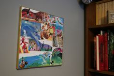 """Disney's Peter Pan 12"""" x 12"""" Collage Canvas with Metallic Gold Trim by CuriousImpossible on Etsy"""