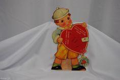 vtg valentine card USA standup cardboard mechanical sailor boy heart girl