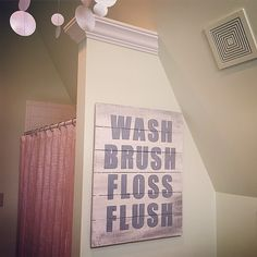 WASH BRUSH FLOSS FLUSH  Just finished this custom order! We have smaller versions of this sign in our shop and will be taking one this size to @thejunkranch in just 11 days!  #washbrushflush#washbrushflossflush#woodsign #reclaimedwood #bathroom#bathroomdecor#kidsbath#kidsbathroom#theclevergoose#woodsign #homedecorating #homedecor #walldecor#thejunkranch
