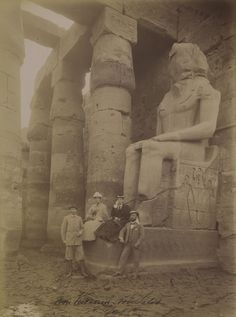 Unidentified group at Abydos, c. 1885. Photograph by Antonio Beato (The Getty).