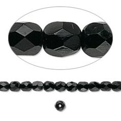 Bead, Preciosa® Czech fire-polished glass, jet, 4mm faceted round. Sold per 16-inch strand.