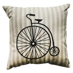 """Eco-friendly pillow with a bicycle motif.  Product: PillowConstruction Material: Polyester cover and 100% recycled virgin polyester fiber fillColor: NaturalFeatures:  Trimmed edgeSewn seam closureInsert included Dimensions: 18"""" x 18""""Cleaning and Care: Spot clean only"""