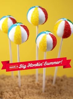Beach Ball Cake Pops - Complete recipe and photo tutorial to make these cute summer party treats! (by Bakerella)