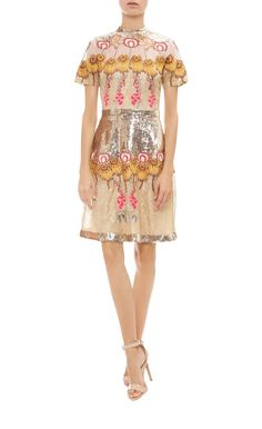 Farewell Mini Dress - Short - Dresses - Exuding ultimate evening glamour, this dazzling Farewell mini dress is adorned with shimmering gold sequins and scattered with hand-embroidered flowers. A high-octane celebration of the season's countryside-inspired theme, this mini dress is a standout after-dark option.