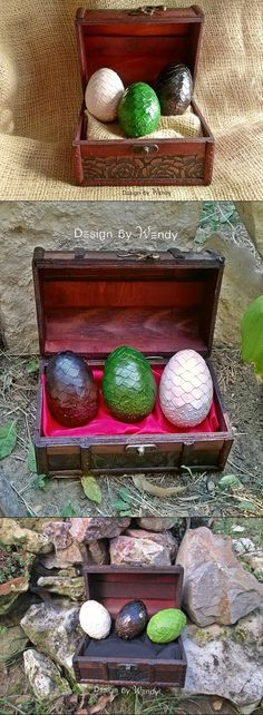 Dragon eggs inspired by Game of Thrones. Rhaegal, Viserion and Drogon are waiting to be adopted by a Mother of Dragons or a Father of Dragons. DRACARYS!   CAUTION: If you put the eggs on fire, you do that at your own risk! Either they will burn, or hatch dragons. ;)