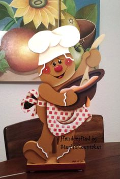 Handpainted Gingerbread Chef Wooden Paper Towel Holder, Gingerbread Kitchen, Gingerbread Man