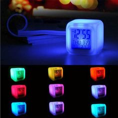 Good Quality despertador Digital Alarm Thermometer night clock Glowing Cube 7 Colors Clock LED Change Fashion