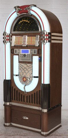 Crosley Full Size Bluetooth CD Jukebox w/ Storage Base Stand 58 High Radio Cd Player, Record Players, Jukebox, Rock And Roll, Crocodile Rock, Cd Storage, Retro Images, Wall Boxes, Compact Disc
