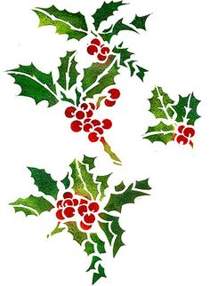 Holly Sprigs and Berries ~ Henny Donovan Celtic Christmas, Christmas Art, Christmas Ideas, Stencil Patterns, Stencil Designs, Handpainted Christmas Ornaments, Holly Pictures, Arabesque, Christmas Stencils