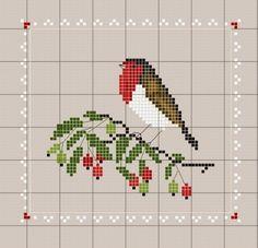free cross stitch pattern red robin