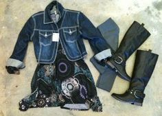 The Purple Print Sister Moses Dress looks great with a simple jean jacket and fleece leggings.