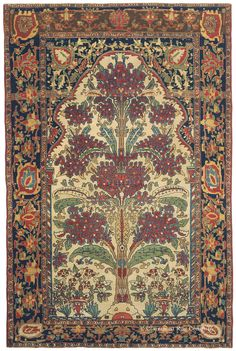 "Ferahan Sarouk, 4ft 4in x 6ft 1in, 2nd Quarter, 19th Century. Exotic, seldom-encountered colors and wonderfully inventive designs that appear to evolve on the loom rather than being overly pre-planned are the hallmarks of the finest very early Persian Ferahan rugs. This one-in-the-world representative portrays the age-old ""Tree of Life"" or ""World Tree"" motif as an enormous blossoming plant that is literally bursting forth with vitality."