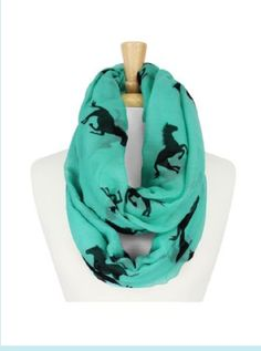 The Rustic Shop - Teal Green and Black Western Horse Riding Infinity Scarf lisasrusticshop.com