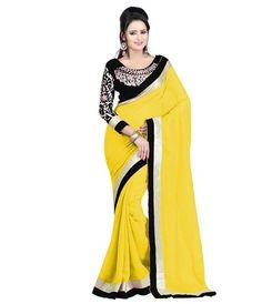 Yellow Faux Georgette Latest Designer Saree