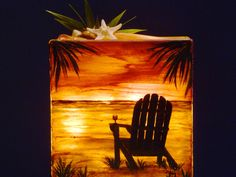 Lawn Chair sunset painting on glass block