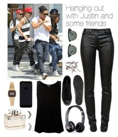 """""""Hanging out with Justin and some friends"""" by justin94bieber ❤ liked on Polyvore featuring Justin Bieber, T By Alexander Wang, Ray-Ban, Casio, Ghost, Beats by Dr. Dre, River Island, Converse and Free People"""