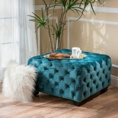 ModHaus Living Modern Contemporary Button Tufted Velvet Upholstery Footstool Standard Ottoman Bench with Dark Brown Legs - Includes Pen (Ivory) Fabric Ottoman, Tufted Ottoman, Ottoman Bench, Square Ottoman, Fabric Squares, Dark Teal, Dark Brown, Navy Blue, Teal Green
