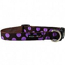 WaLk-e-Woo Purple Dots on Brown Dog Collar