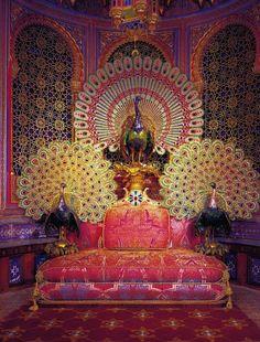 Peacock throne in the Moorish Kiosk near Linderhof