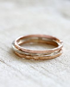 A set of 3 solid 14k gold stacking rings by PraxisJewelry on Etsy Praxis Jewelry
