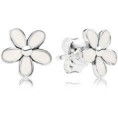 Pandora Stud Earrings - Sterling Silver & Enamel Darling Daisies ($45) ❤ liked on Polyvore featuring jewelry, earrings, earrings studs, jewels, rings, studded jewelry, pandora earrings, stud earrings, daisy stud earrings and pandora jewellery