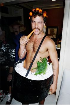 """24 Super-Unique Halloween Costumes From NYC's Fashion Influencers #refinery29  http://www.refinery29.com/22605#slide11  Douglas Friedman, Sushi Roll  """"Sushi Roll at Allison Sarofim's Anime Party""""   Photo: Courtesy of Douglas Friedman."""