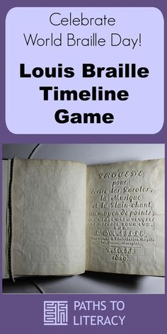 Celebrate World Braille Day with this Louis Braille Timeline Game. World Braille Day, Braille Reader, Teaching Career, Chant, Teacher Resources, Assessment, Blind, Timeline, Lesson Plans