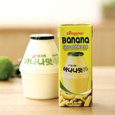 Binggrae banana milk - good for health - a representative Korean product Korean Drinks, Japanese Drinks, Cute Snacks, Cute Food, Korean Street Food, Korean Food, Banana Milk Korean, Ramen, Milk Packaging