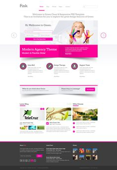 Web design inspiration: bright / bold / pop of color / pink / minimal / 3D / shadows | Green PSD Template