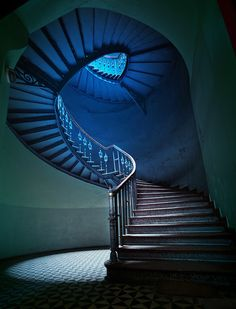Beautiful staircase in an abandoned building.