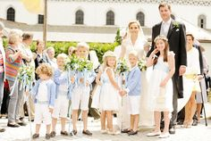 misshonoriaglossop:  Religous wedding of Hereditary Prince Alexander of Isenburg and Dr. Sarah Lorenz, Frauenwört-Church, island of Frauenchiemsee, Germany, July 12, 2014-the couple and their attendants