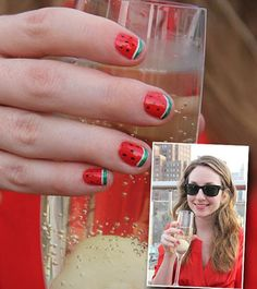 Get A Mani To Match Your Cocktail - Watermelon Nails with a Bittersweet Symphony