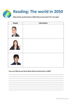 The world in 2050 (will and won't) - English ESL Worksheets for distance learning and physical classrooms Teaching Jobs, Reading Skills, Printable Worksheets, English Grammar, Reading Comprehension, Esl, Elementary Schools, Physics, Activities For Kids