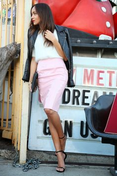 Pink Lady - Ring My Bell, Topshop knit and pvc skirt, Saint Laurent heels
