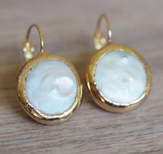 Fresh Water Coin Pearl and Gold Earrings