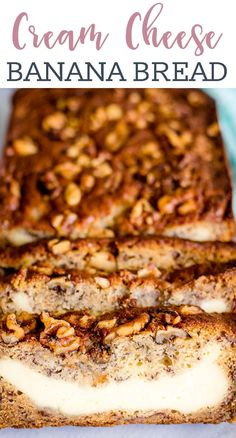 Take your homemade banana bread to the next level by adding a layer of cheesecake filling. Cream Cheese Banana Bread is a delicious for breakfast, brunch or dessert. Pear Recipes, Quick Bread Recipes, Banana Bread Recipes, Best Dessert Recipes, Delicious Desserts, Homemade Banana Bread, Gluten Free Banana Bread, Make Banana Bread, Homemade Cheesecake