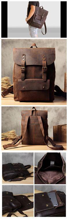 Genuine Leather School Backpack Casual Rucksack